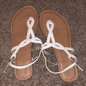 Size 10 white braided sandals